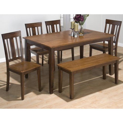 Jofran Kura Espresso and Canyon Gold Solid Rubberwood Rectangle Table Set with 4 Triple Upright Chairs