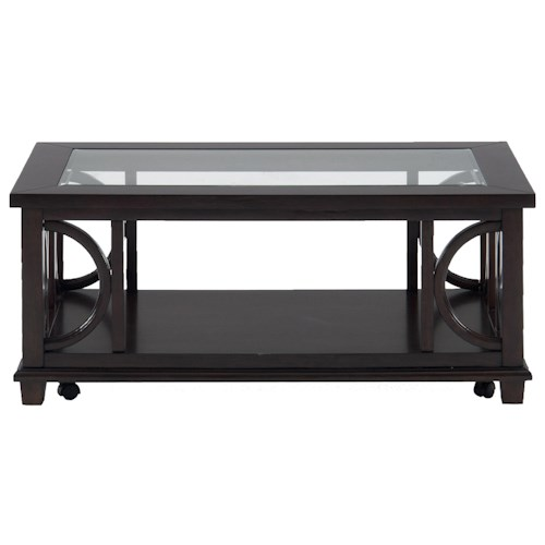 Jofran Panama Brown Contemporary Coffee Table with Beveled Glass Top and Casters