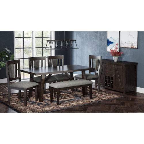 Jofran American Rustics Table and Chair Set with Dining Bench
