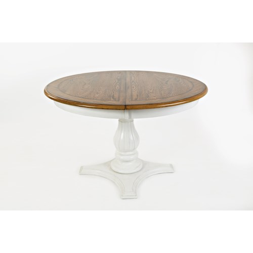 Jofran Castle Hill Round to Oval Pedestal Dining Table