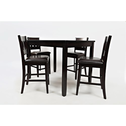 Jofran Dark Rustic Prarie Dark Rustic Prairie Counter Height Table and Four Stools
