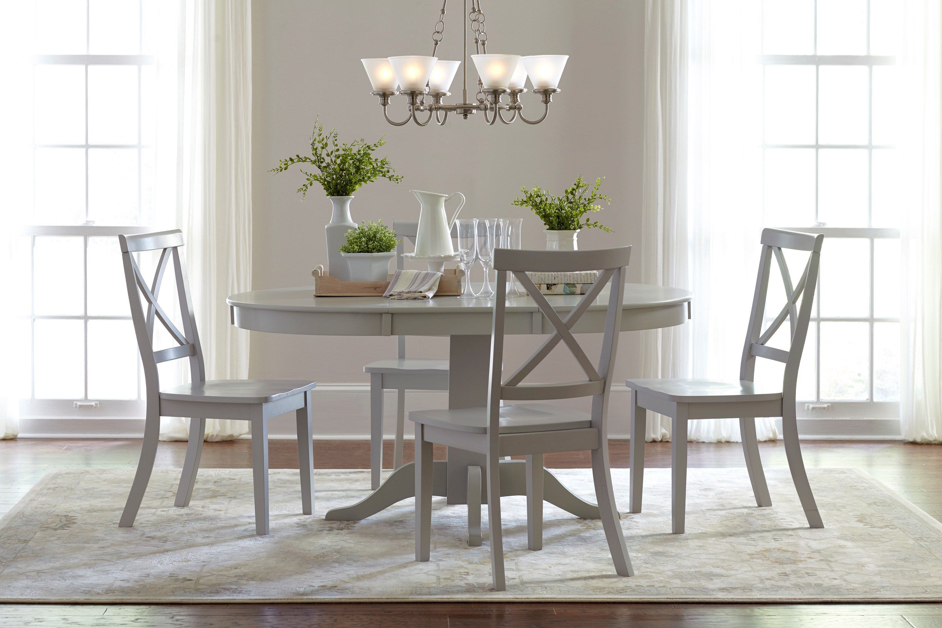 Bon Everyday Classics Round To Oval Dining Table And 4 Chair Set