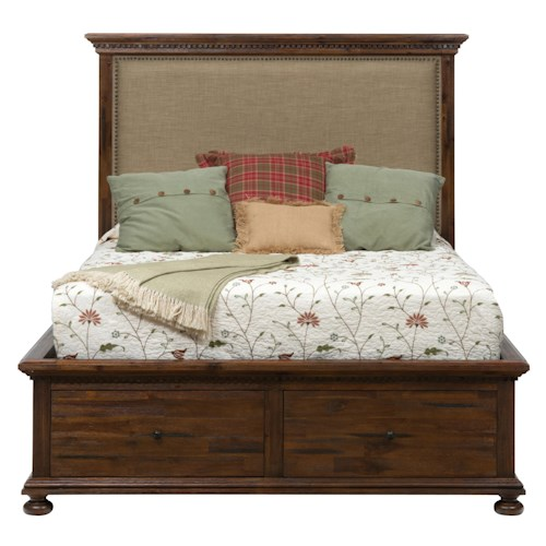 Jofran Geneva Hills Queen Size Upholstered Bed with Storage
