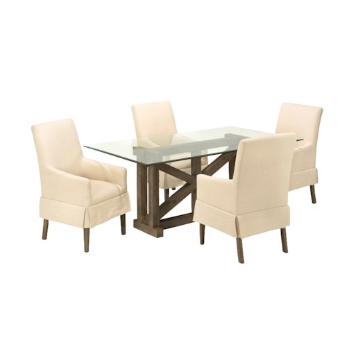 Jofran Hampton Road Glass Top Table with Four Chairs