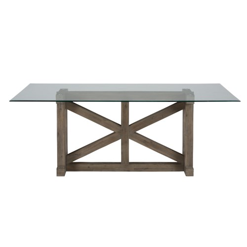 Jofran Hampton Road Trestle Dining Table with Glass Top