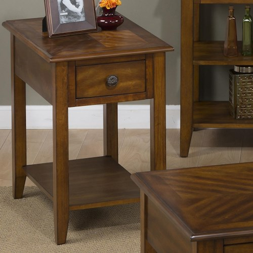 Jofran Medium Brown Chairside Table for Small and Compact Spaces