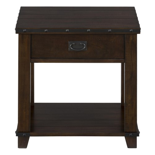 Jofran Cassidy Brown Traditional Plank Top End Table with Drawer, Shelf and Nail Head Treatment