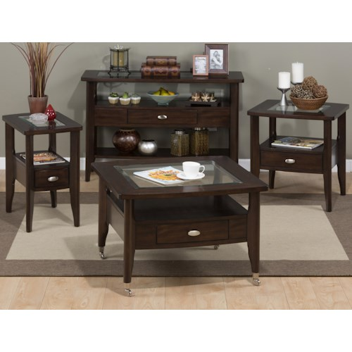 Montego Contemporary Merlot Wood Square End Table W Drawer: Jofran Montego Merlot Occasional Table Group