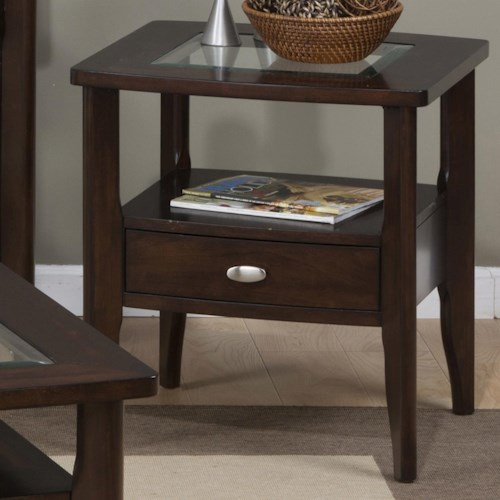 Jofran Montego Merlot Square End Table with Glass Top