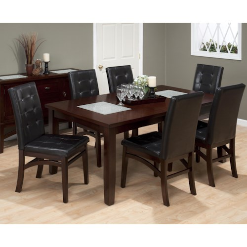 Jofran Chadwick Espresso 7 Piece Dining Set with Tufted Parson Chair