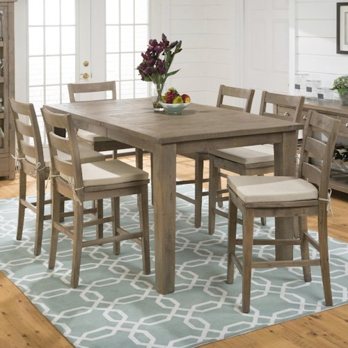 Jofran Slater Mill Pine Counter Height Table and Counter Height Chair Set