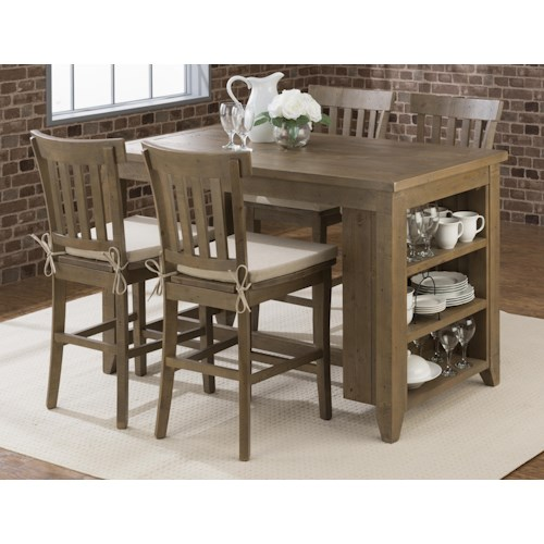 Jofran Slater Mill Pine Counter Height Storage Table with Stool Set