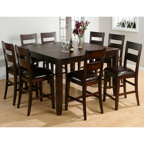 Balboa Counter Height Table Stool 3 Piece Dining Set: Jofran Dark Rustic Prairie 9-Piece Counter Height