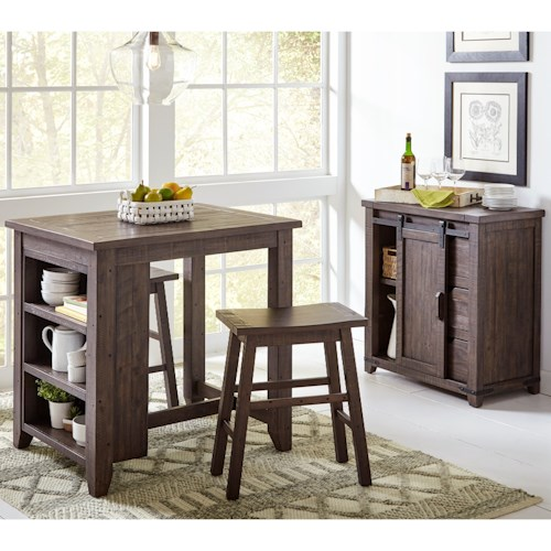 Jofran Madison County 3 Piece Counter Height Table Set