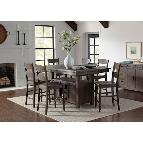 Jofran Madison County 7PC Adjustable Height Dining Table & Chair Set