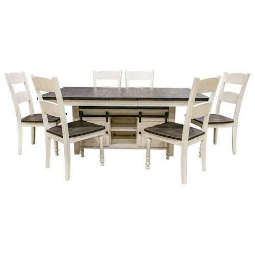 Jofran Madison County Vintage White Hi/Low Table & 8 Ladderback Chairs