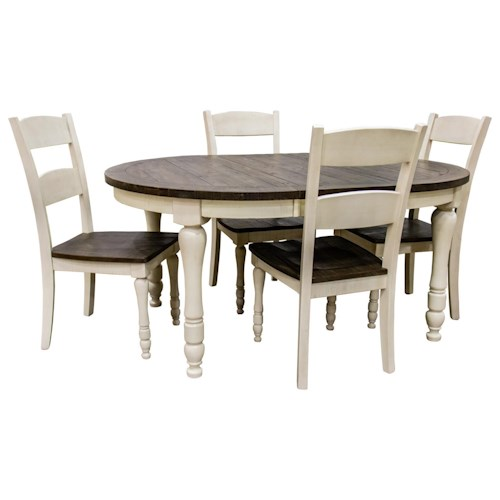 Jofran Madison County Vintage White Round/Oval Table & 4 Ladderback Chairs