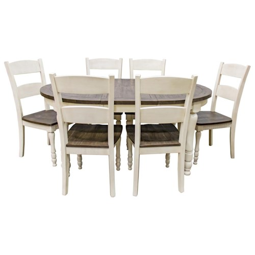 Jofran Madison County Vintage White Round/Oval Table & 6 Ladderback Chairs