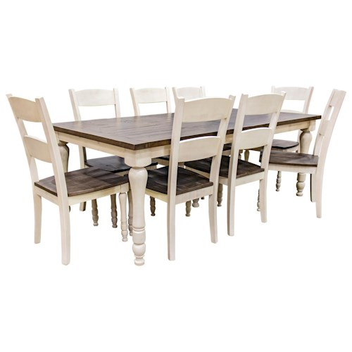 Jofran Madison County Vintage White Rectangular Table & 8 Ladderback Chairs