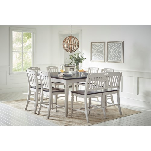 Jofran Orchard Park Counter Height Dining Table With 6 Chairs And Bench