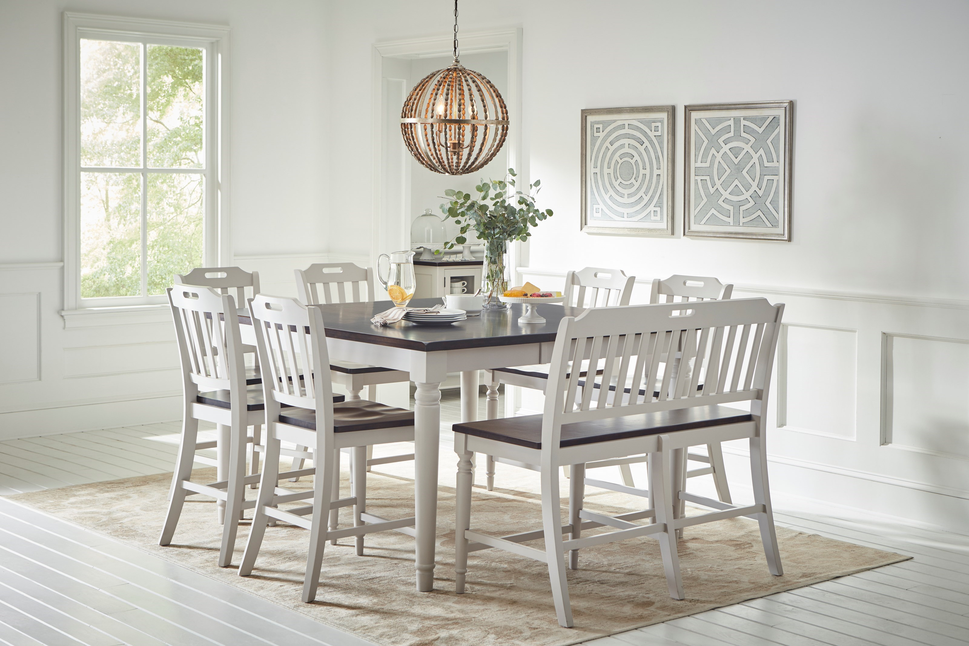 Bon Jofran Orchard Park Counter Height Dining Table With 6 Chairs And Bench