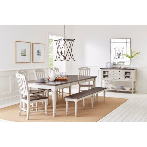Jofran Orchard Park Dining Table with 6 Chairs and Bench