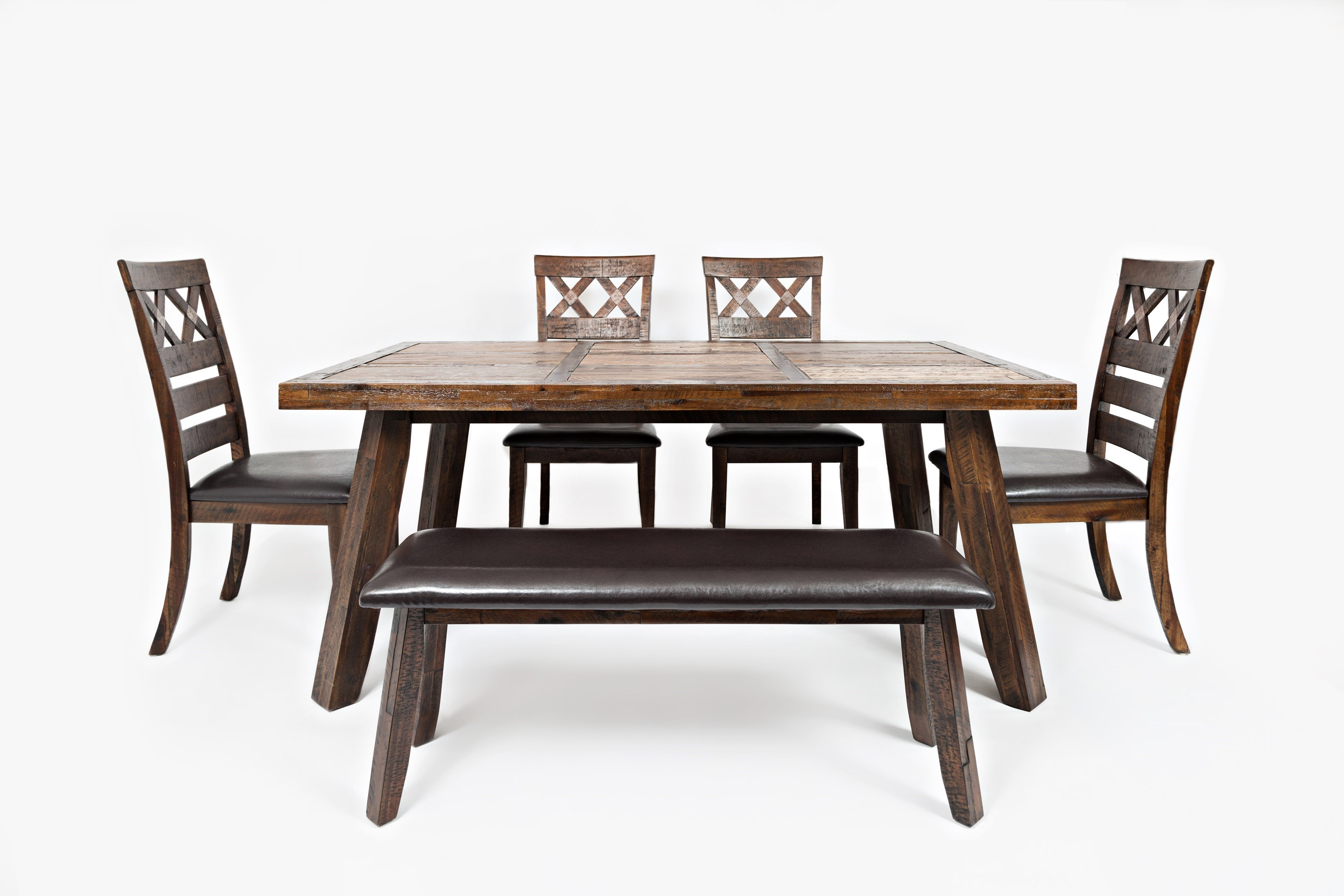 Jofran Painted Canyon Table with Four Chairs and Bench - Jofran