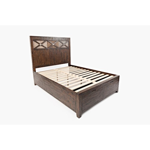Jofran Painted Canyon Queen Size Headboard & Footboard Storage Bed