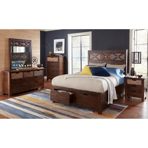 Jofran Painted Canyon Bedroom Group with King Bed