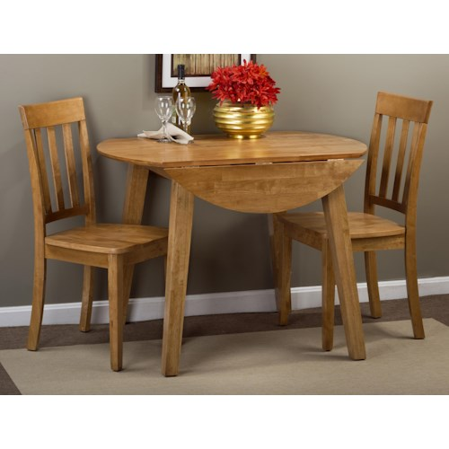 Jofran Simplicity Round Table and 2 Chair Set (with Slat Back Chairs)