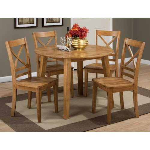 Jofran Simplicity Round Table and 4 Chair Set (with