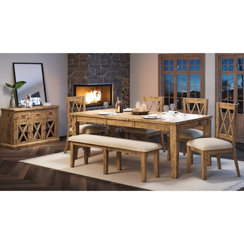Jofran Telluride  6-Piece Table and Chair Set with Bench