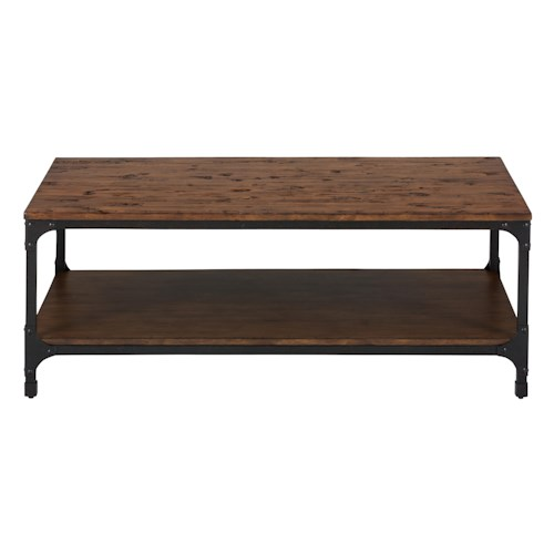 Jofran Urban Nature Rectangle Cocktail Table with Steel and Pine Construction