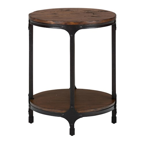 Jofran Urban Nature Round Chairside Table with Steel and Pine Construction