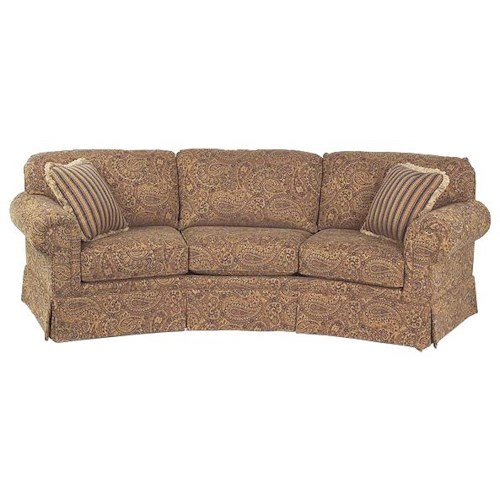 Justice Furniture Accent Sofas Traditional Styled Conversation Sofa with Rolled Arms and Skirt