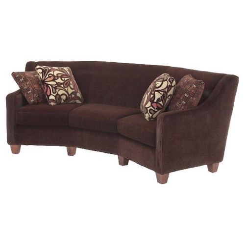Justice Furniture Accent Sofas Contemporary Soho Conversation Sofa with Exposed Wood Legs