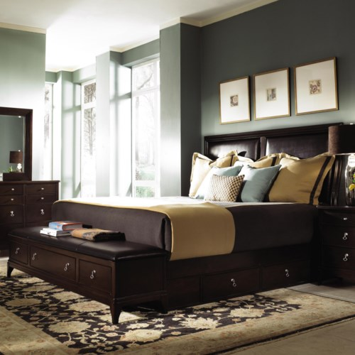 Kincaid Furniture Alston King Bed with Underbed & Footboard Bench Storage