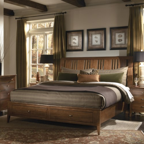 Kincaid Furniture Cherry Park King Platform Storage Bed with Sleigh Headboard