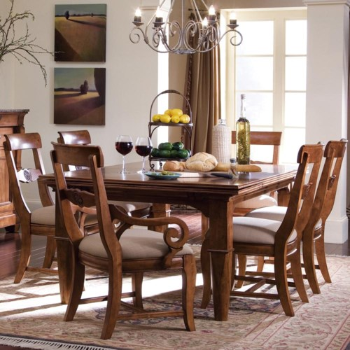Kincaid Furniture Tuscano 7 Pc. Refectory Leg Table with 2 Upholstered Arm Chair & 4 Upholstered Side Chair Set
