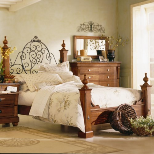 Kincaid Furniture Tuscano Queen Poster Bed with Metal Headboard Detail