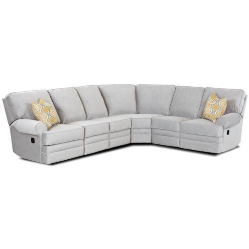 Klaussner Belleview Classic Reclining Sectional Sofa with Rolled Arms