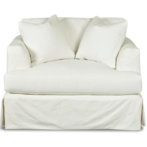 Klaussner Bentley Oversized Slipcover Chair With Flared