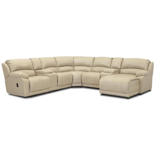 Klaussner Charmed Seven Piece Sectional with Storage Consoles