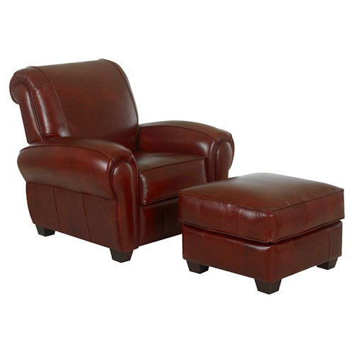 Klaussner Cigar Casual Upholstered Chair and Ottoman
