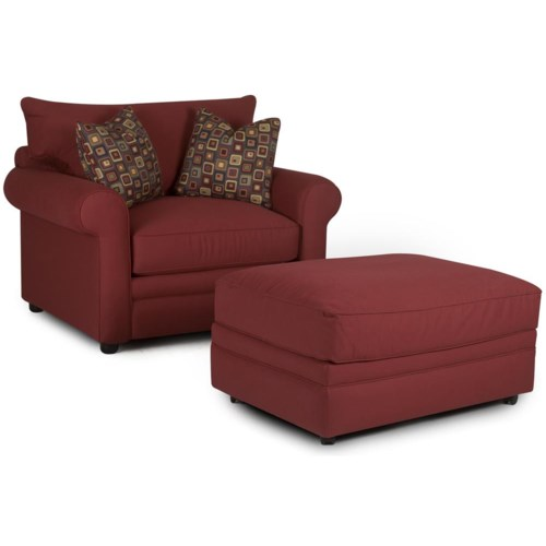 Klaussner Comfy Casual Chair and Ottoman