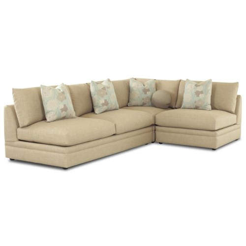Klaussner Melrose Place Three Piece Sectional with Armless Chair