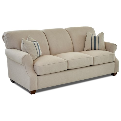 Klaussner Olivia Casual Sofa with Rolled Arms