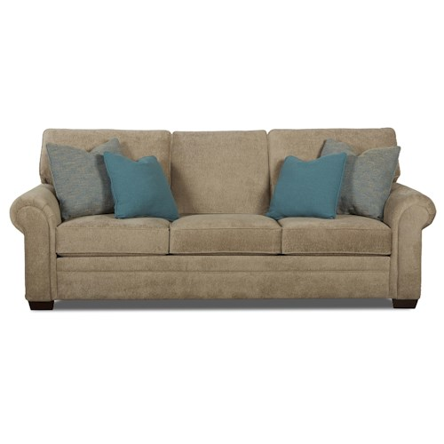 Klaussner Ronaldo Traditional Enso Memory Foam Sleeper Sofa with Rolled Arms