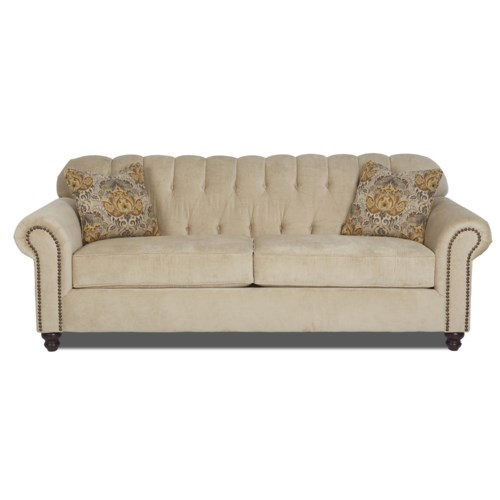 Simple Elegance Sinclair Traditional Stationary Sofa With Rolled Arms And Nailhead Trim