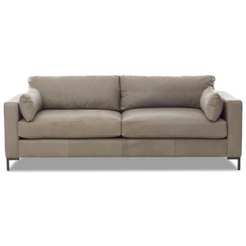 Klaussner Spencer Contemporary Sofa with Track Arms and Metal Legs